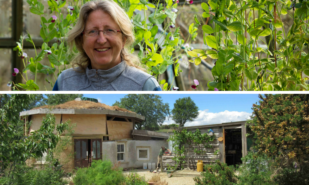 Suzie Cahn in her garden, and below the barn and kitchen at Carraig Dulra