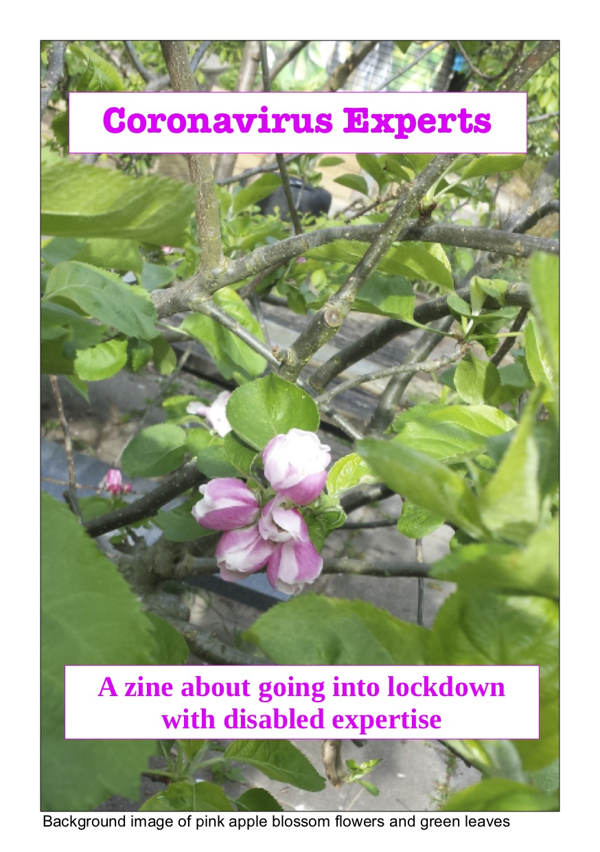 Coronavirus experts zine cover. Background image of pink apple blossom flowers and green leaves