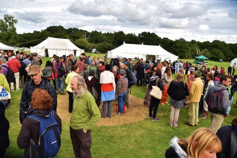 Convergence gathering of people in a field