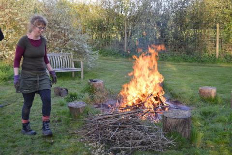 Making a bonfire out of willow