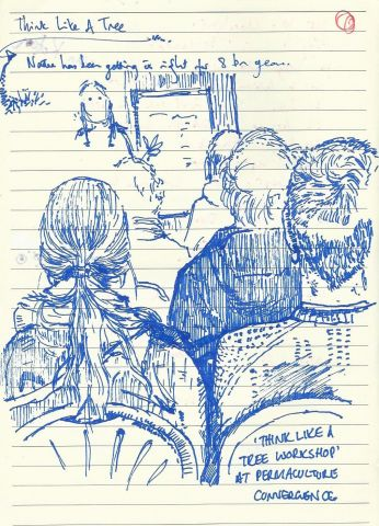 Pen and ink sketch of people listening to a workshop talk